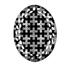 Puzzle1 Black Marble & Gray Metal 2 Ornament (oval Filigree) by trendistuff