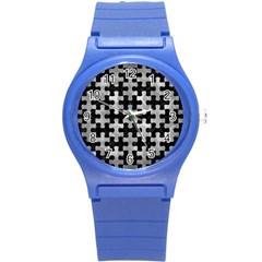 Puzzle1 Black Marble & Gray Metal 2 Round Plastic Sport Watch (s) by trendistuff