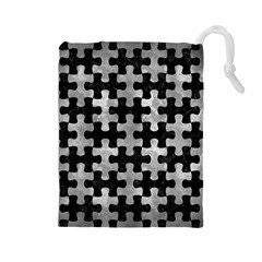 Puzzle1 Black Marble & Gray Metal 2 Drawstring Pouches (large)  by trendistuff