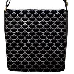 Scales3 Black Marble & Gray Metal 2 Flap Messenger Bag (s) by trendistuff