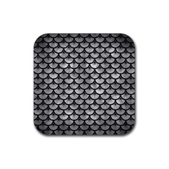 Scales3 Black Marble & Gray Metal 2 (r) Rubber Square Coaster (4 Pack)  by trendistuff