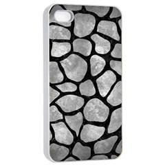 Skin1 Black Marble & Gray Metal 2 Apple Iphone 4/4s Seamless Case (white) by trendistuff