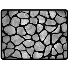 Skin1 Black Marble & Gray Metal 2 Double Sided Fleece Blanket (large)  by trendistuff