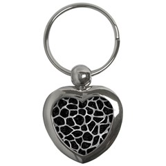 Skin1 Black Marble & Gray Metal 2 (r) Key Chains (heart)  by trendistuff