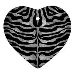 Skin2 Black Marble & Gray Metal 2 Heart Ornament (two Sides) by trendistuff