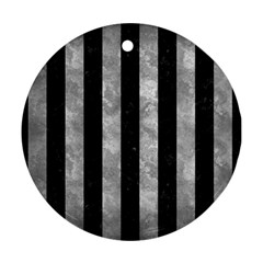 Stripes1 Black Marble & Gray Metal 2 Ornament (round) by trendistuff