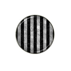 Stripes1 Black Marble & Gray Metal 2 Hat Clip Ball Marker by trendistuff