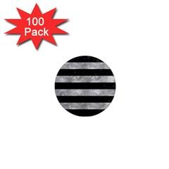 Stripes2 Black Marble & Gray Metal 2 1  Mini Magnets (100 Pack)  by trendistuff
