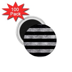 Stripes2 Black Marble & Gray Metal 2 1 75  Magnets (100 Pack)  by trendistuff