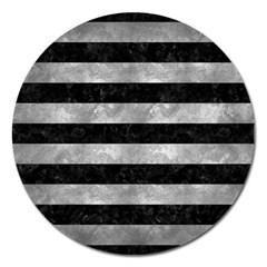Stripes2 Black Marble & Gray Metal 2 Magnet 5  (round) by trendistuff