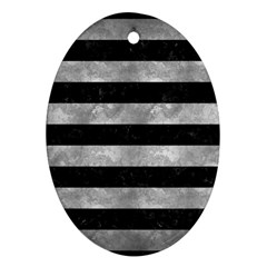 Stripes2 Black Marble & Gray Metal 2 Oval Ornament (two Sides) by trendistuff