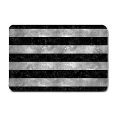 Stripes2 Black Marble & Gray Metal 2 Small Doormat  by trendistuff