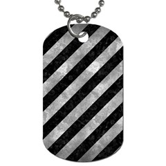Stripes3 Black Marble & Gray Metal 2 Dog Tag (two Sides) by trendistuff
