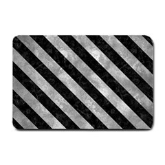 Stripes3 Black Marble & Gray Metal 2 (r) Small Doormat  by trendistuff