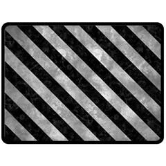 Stripes3 Black Marble & Gray Metal 2 (r) Double Sided Fleece Blanket (large)  by trendistuff