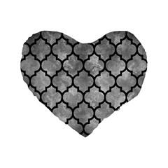 Tile1 Black Marble & Gray Metal 2 (r) Standard 16  Premium Flano Heart Shape Cushions by trendistuff