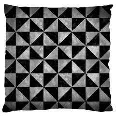 Triangle1 Black Marble & Gray Metal 2 Large Flano Cushion Case (one Side) by trendistuff