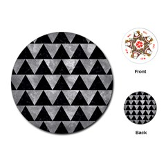 Triangle2 Black Marble & Gray Metal 2 Playing Cards (round)  by trendistuff