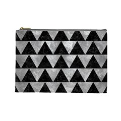 Triangle2 Black Marble & Gray Metal 2 Cosmetic Bag (large)  by trendistuff