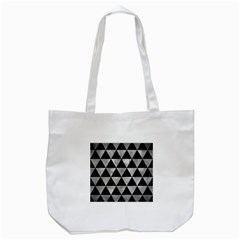 Triangle3 Black Marble & Gray Metal 2 Tote Bag (white) by trendistuff