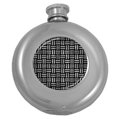 Woven1 Black Marble & Gray Metal 2 Round Hip Flask (5 Oz) by trendistuff