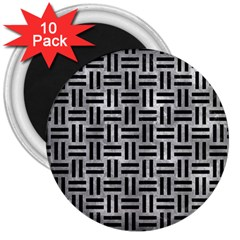 Woven1 Black Marble & Gray Metal 2 (r) 3  Magnets (10 Pack)  by trendistuff