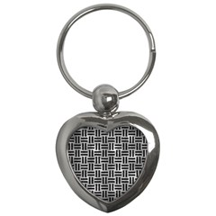 Woven1 Black Marble & Gray Metal 2 (r) Key Chains (heart)  by trendistuff