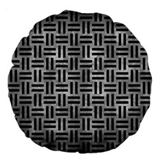 Woven1 Black Marble & Gray Metal 2 (r) Large 18  Premium Flano Round Cushions by trendistuff