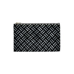 Woven2 Black Marble & Gray Metal 2 Cosmetic Bag (small)  by trendistuff