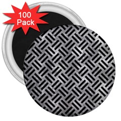 Woven2 Black Marble & Gray Metal 2 (r) 3  Magnets (100 Pack) by trendistuff