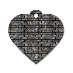 Brick1 Black Marble & Gray Stone (r) Dog Tag Heart (one Side) by trendistuff