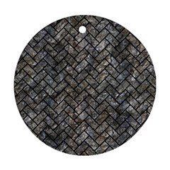 Brick2 Black Marble & Gray Stone (r) Round Ornament (two Sides) by trendistuff