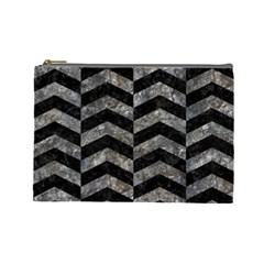 Chevron2 Black Marble & Gray Stone Cosmetic Bag (large)  by trendistuff