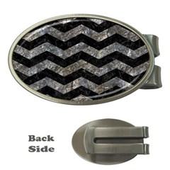 Chevron3 Black Marble & Gray Stone Money Clips (oval)  by trendistuff