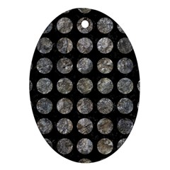 Circles1 Black Marble & Gray Stone Oval Ornament (two Sides) by trendistuff