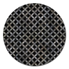 Circles3 Black Marble & Gray Stone Magnet 5  (round) by trendistuff