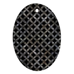 Circles3 Black Marble & Gray Stone Oval Ornament (two Sides) by trendistuff