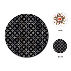 Circles3 Black Marble & Gray Stone (r) Playing Cards (round)  by trendistuff