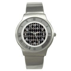 Diamond1 Black Marble & Gray Stone Stainless Steel Watch by trendistuff