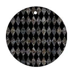 Diamond1 Black Marble & Gray Stone Round Ornament (two Sides) by trendistuff
