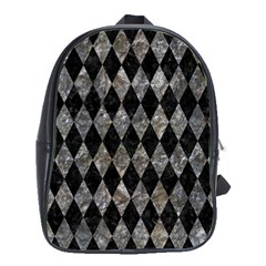 Diamond1 Black Marble & Gray Stone School Bag (large)