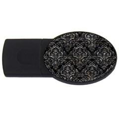 Damask1 Black Marble & Gray Stone Usb Flash Drive Oval (4 Gb) by trendistuff