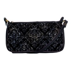 Damask1 Black Marble & Gray Stone Shoulder Clutch Bags by trendistuff