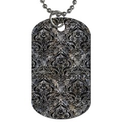 Damask1 Black Marble & Gray Stone (r) Dog Tag (two Sides) by trendistuff
