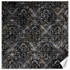 Damask1 Black Marble & Gray Stone (r) Canvas 16  X 16