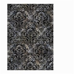 Damask1 Black Marble & Gray Stone (r) Small Garden Flag (two Sides) by trendistuff