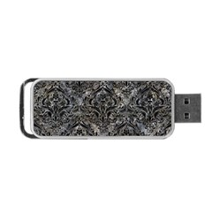 Damask1 Black Marble & Gray Stone (r) Portable Usb Flash (two Sides) by trendistuff