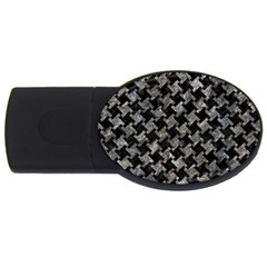 Houndstooth2 Black Marble & Gray Stone Usb Flash Drive Oval (4 Gb) by trendistuff