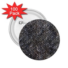 Hexagon1 Black Marble & Gray Stone (r) 2 25  Buttons (100 Pack)  by trendistuff
