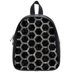 Hexagon2 Black Marble & Gray Stone School Bag (small) by trendistuff